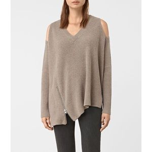 All Saints Able Open Shoulder Sweater- Lunar Grey